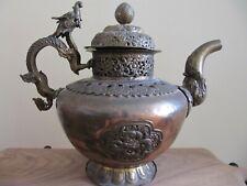 "Exquisite Large Antique Copper Tibet Buddhist Monastery Dragon Handle Teapot 11"""