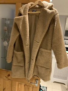 Pretty Little Thing Camel Teddy Coat Size 8 Petite