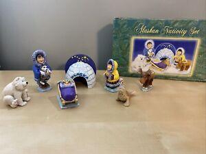 Alaskan Nativity Set Resin  7 Piece- Preowned