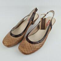 Pikolinos Ladies Sandals Square Toe Tan Brown Leather Slingbacks Size 41 UK 7/8