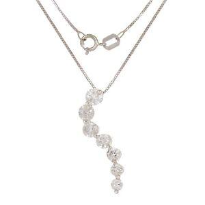 "14k White Gold 1ctw Diamond Journey Linear Pendant Necklace 18"""