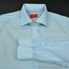 ISAIA Solid Blue 100% Cotton Mens Luxury Dress Shirt - 16.5