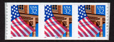 UNITED STATES, SCOTT # 2915A, STRIP OF 3 PNC3 #55555A FLAG OVER PORCH, MNH