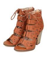 New Women Nature Breeze Webber-05 Leatherette Peep Toe Cut Out Lace Up Sandal