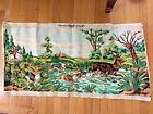 "Vintage Tapestry 48"" x 23"" Margot Creations Paris Hunter Horse Dog Buck T04"