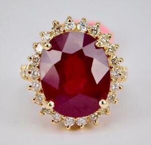 Wow! Impressive 14K Oro Giallo 16.10CT Originale Rosso Ruby Diamante Halo Anello