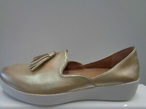 """FITFLOP Ladies Slip On Shoes Gold Size UK 8 US 10 EUR 42 CM 26.7 Ref M539"""""""