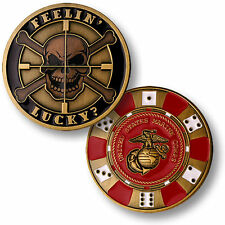 U.S. Marine Corps / Feelin Lucky - USMC Bronze Challenge Coin