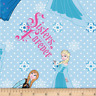Disney Frozen Sisters Forever Snowflakes Blue 100% flannel fabric by the yard