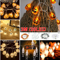 20LED 3M Halloween Pumpkin String Fairy Lights Outdoor Party Indoor Home Decor