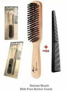 Magic Collection hard NARROW Natural Boar Bristle BRUSH WITH COMB # 7725 C