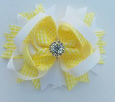 BRIGHT YELLOW &WHITE Gingham Hair Clip Bow with Rhinestone School  Accessories