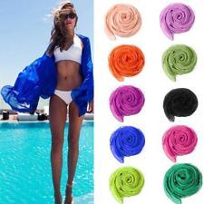 Ladies Sexy Chiffon Wrap Dress Sarong Pareo Beach Swimwear Cover Up Scarf AU