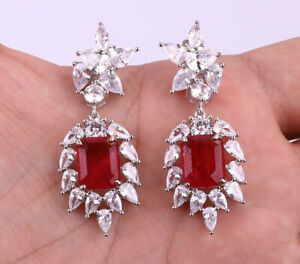 SQUARES RUBY TOPAZ .925 SOLID STERLING SILVER EARRINGS #20774