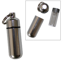 1 Pack Aluminum Pill Shape Case Keychain ID Holder Pet Ashes Urn Silver Metal