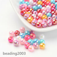 100pc Mixed Shining Acrylic Beads Round AB Colour 6mm Colorful Beading Jewellery