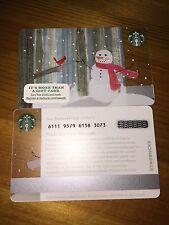 Snowman + Carrot and Cardinal Starbucks Card USA Souvenir. Ref 2015 Christmas