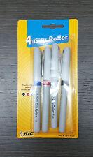 BIC 4 Pack Roller Rubber Grip Writing Pens Black Blue Red Medium Tip 0.7mm