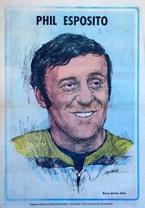 Phil Esposito - Boston Globe Sunday Hockey poster - 1971 color comic poster page