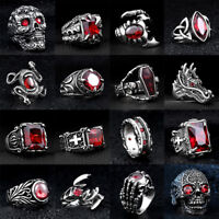 Skull Cool Man Jewelry 316L Stainless Steel Steam Ram Men Punk Ring Gothic Rings