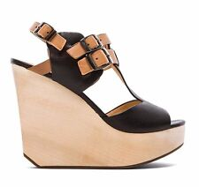 MATIKO Black Natural Leather TRESSA Wood Wedge Heels Sandals US 9   $200