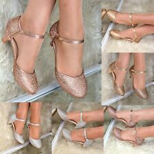 Rhinestone Low Kitten Heel Shoes Mary Jane Ankle strap Pumps Dress Sandals size
