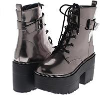 Shoe Republic LA Harrison Metallic Reflective Platform Boots, Pewter, US 5.5