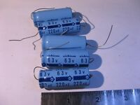 Electrolytic Capacitor Nichicon 220uF 63V 85C Axial N7402 - NOS Qty 5