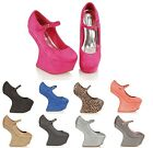 WOMEN'S LADIES MARY JANE HIGH PLATFORM HEEL LESS BUCKLE BAR STRAP SHOES BOOTS