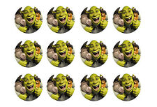 """SHREK CUPCAKE TOPPERS 12 x 2"""" CIRCLES EDIBLE ICING PARTY DECORATION IMAGE"""