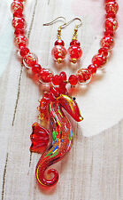 """RED LAMPWORK necklace GLASS SEAHORSE PENDANT ears 16"""""""