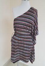 Karina Grimaldi Top one shoulder Kimono Style Side Belt Multi Color Sz M