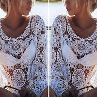 Sexy Womens Bathing Suit White Lace Crochet Swimwear Bikini Cover Up Beach Dress