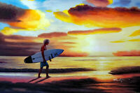Surfer Surfboard Beach Sunset Waves Shore 24X36 Oil On Canvas Painting STRETCHED