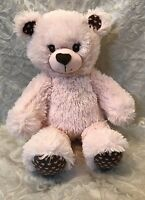2013 Build a Bear Pink Plush Bear Brown Heart Paws Nose Cuddly Hearts Bear