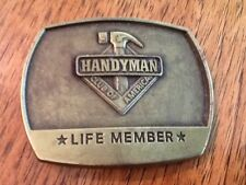 Handyman Club of America Brass Belt Buckle, Life Member, Raised Logo
