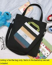 Womens Unisex Black Cotton Canvas 3 use Bag Shoulder tote Backpack School Sewing