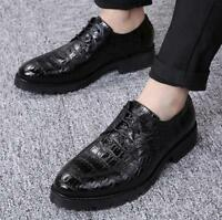 Fashion Men's Cuban Heel Dress formal Pointed toe Oxfords lace up Casual shoes