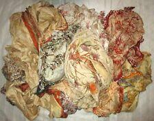 LOT PURE SILK Antique Vintage Sari Fabric 1 KG 1000 GMS CRAFT 9DAYDELIVERY CREAM