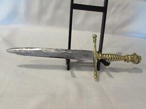"Vintage Brass Knight's Head Short Sword (10"" Blade) Made in Spain Medieval"