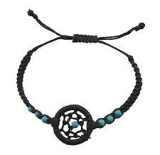 Bracelet black dreamcatcher beads turquoise blue adjustable BB 21050