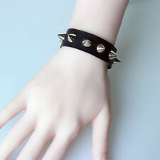 Unisex Women Punk Bracelet Gold Metal Spike Rivet Cone Cuff Adjustable Bangle