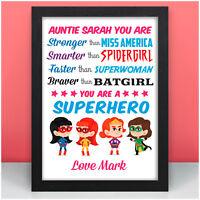 Personalised Female Superhero Birthday Gifts for Mummy Nan Nanny Mum Mom