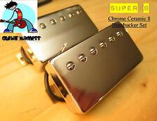 G.M. Super 8 Humbucker Set Chrome Ceramic 8 magnets 7.2k, 13.5k(4-wire)PAF Style
