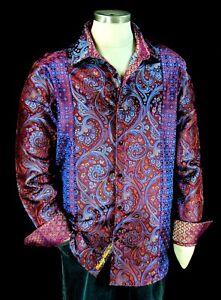 Robert Graham Corinth Limited Edition NWT Iridescent Silk Paisley Shirt Large