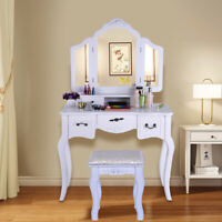 Tri Folding Mirror White Wood Vanity Set Makeup Table Dresser 5 Drawers+Stool US