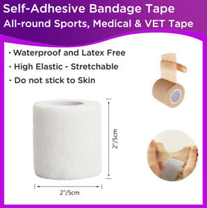 Self-Adhesive Cohesive Bandage Stretch First Aid Wrap Sports Medical VET Tape