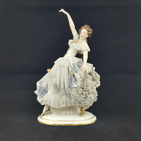 Dresden Figurine Lace Ballerina Dancing Girl - damaged