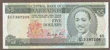 1986 BARBADOS 5 DOLLAR NOTE