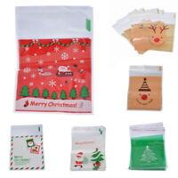50 Christmas Bag Santa Claus  Gift Cookie Fudge Candy Self  Adhesive